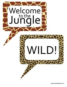 Speech Bubbles from Jungle Animal Printable Photo Booth Prop Set