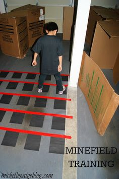 """Minefield training--designer says """"boom"""" (or blow a horn of some sort) if agent steps on a mine. Geheimagenten Party, Party Games, Escape Room, Spy Birthday Parties, Spy Kids Party, Kid Parties, 11th Birthday, Birthday Ideas, Spy Games For Kids"""