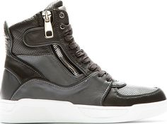 Dolce & Gabbana - Grey Panelled Leather High-Top Sneakers - $1,000 USD