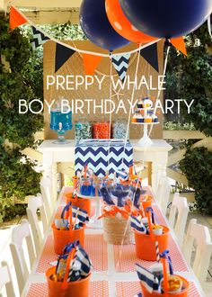 blue and orange preppy whale birthday party. Change to girly colors (pink and blue, pink and green? Whale Birthday Parties, Orange Birthday Parties, Birthday Fun, Birthday Party Themes, Birthday Ideas, Orange Party, Blue Party, Party Party, Maori