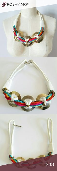 """Bright Vintage Woven Necklace/Belt Such a fun Spring/Summer item!!! Cord detail with brass metal disks I think this may be a necklace  (that's how I'd rock it) or a belt if you have a tiny waist! 27"""" long Fish hook closure Very good vintage condition!  🌟PLEASE READ CLOSET INFO AND POLICIES POST🌟 Vintage  Jewelry Necklaces"""