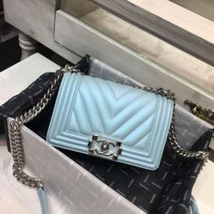Authentic Quality Perfect 1 Mirror Replica Chanel Turquoise Metallic Lambskin Small Boy Bag