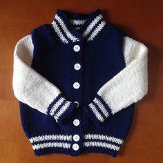 Ravelry: Baby Letterman Jacket pattern by Angie Schumacher Boys Knitting Patterns Free, Baby Cardigan Knitting Pattern Free, Baby Sweater Patterns, Knit Baby Sweaters, Knitted Baby, Crochet Baby, Boys Sweaters, Hat Crochet, Crochet Cardigan