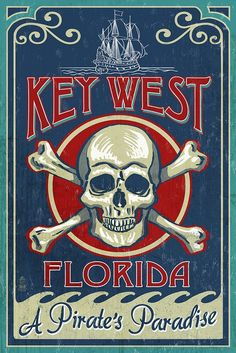Amazon.com: Key West, Florida - Skull and Crossbones (16x24 Giclee Print Wall Decor): Posters & Prints
