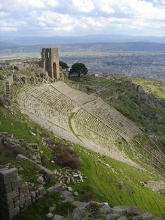 The ancient ruins of Pergamon located outside of Bergama, Turkey.