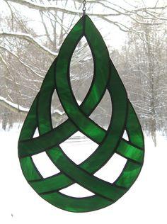 Celtic Teardrop Stained Glass Suncatcher