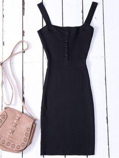 Wide Strap Bodycon Sweater Dress - BLACK ONE SIZE