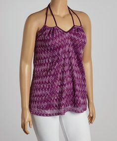 Love this Purple Zigzag Notch Neck Halter Top - Plus by Yummy on #zulily! #zulilyfinds