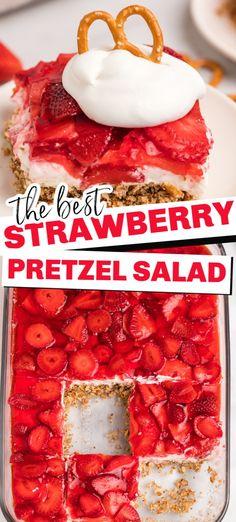 Jello Pretzel Desserts, Jello Pretzel Salad, Strawberry Pretzel Salad, Cheesecake Desserts, Strawberry Recipes, Jello Salads, Fruit Salads, Strawberry Pie, Baking Recipes