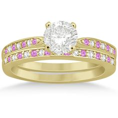 Allurez Pink Sapphire & Diamond Engagement Ring Set 14k Yellow Gold... ($1,365) ❤ liked on Polyvore featuring jewelry, rings, yellow gold, engagement rings, gold diamond rings, 14k yellow gold ring, 14 karat gold ring and round cut engagement rings