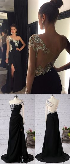 Black Prom Dresses, Long Prom Dresses, 2018 Prom Dresses Sheath/Column, One Shoulder Prom Dresses Chiffon, Long Sleeve Prom Dresses Tulle Split Front