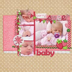 4 image digital scrapbooking page. credits: Strawberry Kisses by Lliella Designs