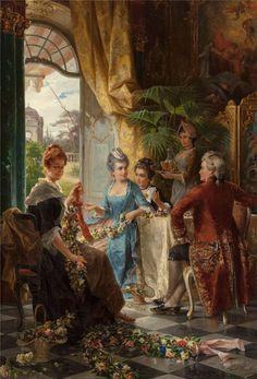 Сarl Herpfer (German, 1836-1897) Галантный век, летят кареты...