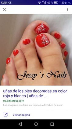 Ideas For Red Pedicure Designs Toenails Nailart Pedicure Nail Art, Toe Nail Art, Manicure And Pedicure, Pedicure Ideas, Jamberry Pedicure, Flower Pedicure Designs, Pretty Toe Nails, Cute Toe Nails, Pretty Toes