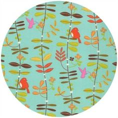 Gina Martin for Moda, Wrens & Friends, Perched Robins Egg - fabricworm