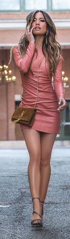 Coral Leather Mini Dress #coupon code nicesup123 gets 25% off at  Provestra.com Skinception.com