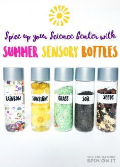 The easist summer sensory bottles for an interactive science center. Great for preschool and kindergarten science. Garden science