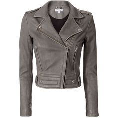 IRO Women's Luiga Grey Moto Leather Jacket (€1.155) ❤ liked on Polyvore featuring outerwear, jackets, coats, grey, asymmetrical zipper jacket, leather moto jackets, quilted leather jacket, real leather jackets and fleece-lined jackets