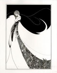 Graphic Bold Elegant Black and White Ink Illustration by Aubrey Beardsley Golden age of illustration Art Deco. Illustration Art Nouveau, Pen Illustration, Aubrey Beardsley, Drawn Art, Inspiration Art, Art Nouveau Design, Design Art, Alphonse Mucha, Design Graphique