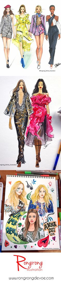 Rongrong DeVoe fashion illustrations of Marchesa, Anna Sui, Self Portrait at NYFW SS18, more at www.rongrongdevoe.com