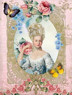 Paper - Fond - Printable - Vintage - Pink - Marie -Antoinette