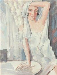 Am Tisch sitzende Frau in weißem Nachthemd, Albert Mueller