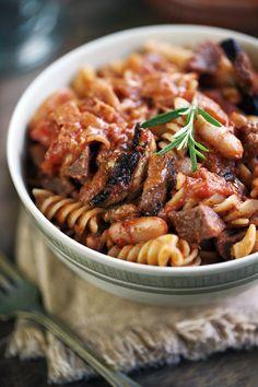 White bean, sausage and mushroom pasta with tomato-ricotta sauce