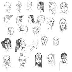 Alien Face Sketches