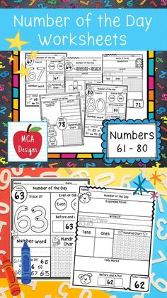 My Number of the Day worksheets focus on numbers 61 - 80 and feature various activities to help your students grasp a better understanding of number concepts. Number of the Day worksheets are a great way to start of a math lesson, number talk, or include in math centers. Each worksheet is accented with fun graphics! #teacherspayteachers #tpt Educational Activities, Math Activities, Differentiated Instruction, Math Concepts, Creative Teaching, Elementary Math, Fun Math, Word Work, My Teacher