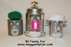 Make this fun & whimsical craft project utilizing recycled tin cans for only $5. See these and more frugal fabulous $5 Family Fun ideas at www.megganspicer.com, www.facebook.com/megganspicer & @megganspicer on Instagram