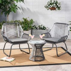 Shop for Idaho Outdoor 3 Piece Woven Chat Set by Christopher Knight Home. Get free delivery On EVERYTHING* Overstock - Your Online Garden & Patio Shop! Best Outdoor Furniture, Rustic Furniture, Garden Furniture, Living Room Furniture, Antique Furniture, Industrial Furniture, Modern Furniture, Furniture Ideas, Luxury Furniture