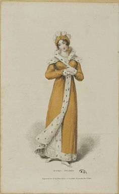 1813, La Belle Assemble. English Regency. A luxurious Opera Pelisse with ermine fur trimming.