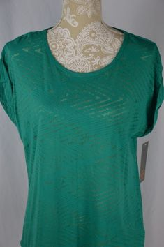Daisy Fuentes Womens Large Sea Glass Semi Sheer Rolled Cuff Scoop Neck Shirt #DaisyFuentes #KnitTop #Casual