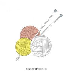 Yarn and knitting needles vector