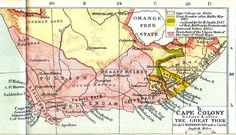 British colonisation in AfricaN die groot trek Cape Colony, African Map, Trek, South Africa, Vintage World Maps, Literature, British, History, Historia