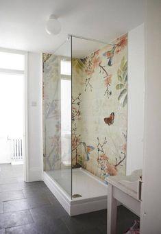 Beautiful Floral Tile Mosaic In A Modern All White Bath