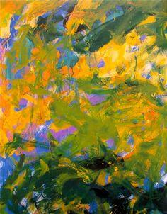 JOAN MITCHELL, ' La Grand Vallee IX', 1983-84, oil on canvas, diptych, 102 3/8 x 102 3/8 in, Fonds Regional d'Art Contemorian de Haute-Normandie, France. Detail - upper area of left canvas