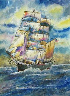 Pintura em aquarela sobre papel canson.  - sem moldura - medidas: 28,5x42cm R$ 50,00