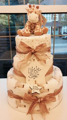 Neutral personalised giraffe Nappy cake www.facebook.com/itzybitzybasketsuk