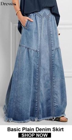 [On Sale] Basic Plain Denim Shift Skirtson Big Sale Now — 7 Sizes for Choices craft In case you are like me you reside and breathe trend. You happen to be frequently influenced with a lot of new types racing as a result of your head, lots of you can … Denim Fashion, Boho Fashion, Fashion Dresses, Womens Fashion, Fashion Clothes, Style Fashion, Mode Hippie, Mode Boho, Denim Ideas