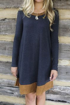 Into The Night Charcoal Knit Dress With Suede Contrast Hem & Collar