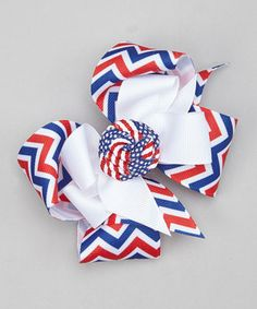 Look what I found on #zulily! Picture Perfect Hair Bows Red & Blue Knotted Layered Bow by Picture Perfect Hair Bows #zulilyfinds