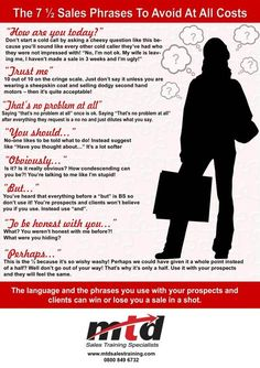 7 Sales Phrases to Stop Using ASAP [Infographic] Sales phrases to never, ever use… Board: Networking Insurance Marketing, Sales And Marketing, Business Marketing, Online Marketing, Digital Marketing, Marketing Ideas, Business Management, Business Planning, Business Ideas
