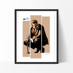 Miles Davis ref.3 - Mixed media collage, jazz, blues, music,  vintage , retro, decor, print , poster, wall , interior design, elegant -