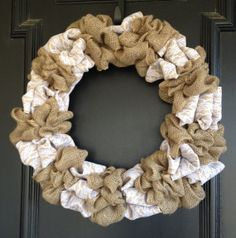 Burlap Wreath with Lace by MyRusticCharm on Etsy, $40.00