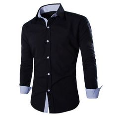 $12.25 Fashion Shirt Collar Fitted Two Color Splicing Long Sleeve Polyester Shirt For Men