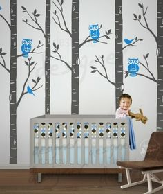 @Kellie Borba    owls, birch trees and cute crib! great colors. this is so cute!