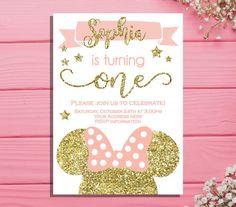 Minnie mouse first birthday invitation  Minnie Birthday party