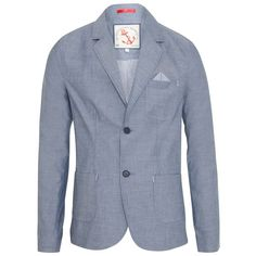 Blue Chambray Double Button Blazer ($61) ❤ liked on Polyvore