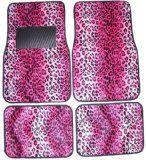 Pink Leopard Animal Print Front & Rear Carpet Car Truck SUV Floor Mats